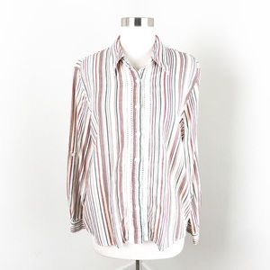 Alfred Dunner multi striped button down shirt